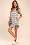 Key West Blue and Grey Striped Shirt Dress 2