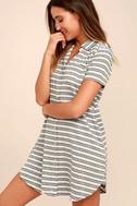 Key West Blue and Grey Striped Shirt Dress 3