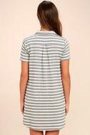 Key West Blue and Grey Striped Shirt Dress 4