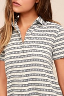 Key West Blue and Grey Striped Shirt Dress 5