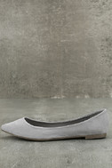 Lexine Grey Suede Pointed Flats 1