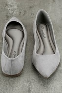 Lexine Grey Suede Pointed Flats 3
