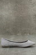 Lexine Grey Suede Pointed Flats 4