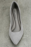 Lexine Grey Suede Pointed Flats 5