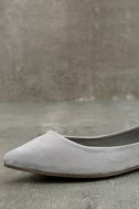 Lexine Grey Suede Pointed Flats 6