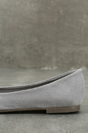 Lexine Grey Suede Pointed Flats 7