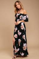Primrose Princess Black Floral Print Off-the-Shoulder Maxi Dress 2
