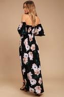 Primrose Princess Black Floral Print Off-the-Shoulder Maxi Dress 3
