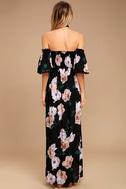 Primrose Princess Black Floral Print Off-the-Shoulder Maxi Dress 4