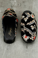 Free People Brocade At Ease Black Embroidered Loafer Slides 3