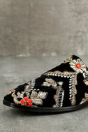 Free People Brocade At Ease Black Embroidered Loafer Slides 6