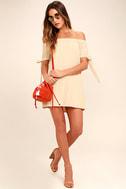 Al Fresco Evenings Beige Off-the-Shoulder Dress 2