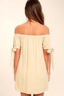 Al Fresco Evenings Beige Off-the-Shoulder Dress 4