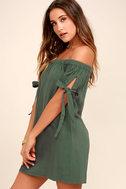 Al Fresco Evenings Olive Green Off-the-Shoulder Dress 3
