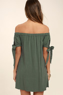Al Fresco Evenings Olive Green Off-the-Shoulder Dress 4