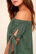 Al Fresco Evenings Olive Green Off-the-Shoulder Dress 5