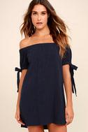 Al Fresco Evenings Navy Blue Off-the-Shoulder Dress 1
