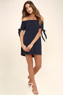 Al Fresco Evenings Navy Blue Off-the-Shoulder Dress 2