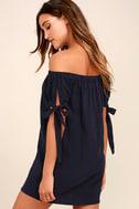 Al Fresco Evenings Navy Blue Off-the-Shoulder Dress 3
