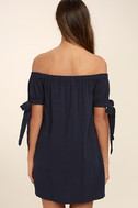 Al Fresco Evenings Navy Blue Off-the-Shoulder Dress 4