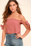That's the Ticket Rusty Rose Off-the-Shoulder Crop Top 1