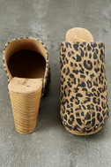 Free People Ring Leader Leopard Suede Leather Platform Clogs 3