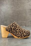 Free People Ring Leader Leopard Suede Leather Platform Clogs 4