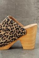 Free People Ring Leader Leopard Suede Leather Platform Clogs 7