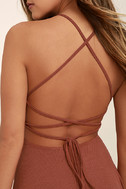 Tied Together Rusty Rose Lace-Up Dress 5
