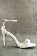 All-Star Cast White Patent Ankle Strap Heels 4