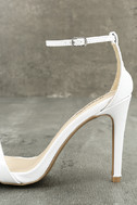 All-Star Cast White Patent Ankle Strap Heels 7