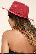 What I Like Red Suede Fedora Hat 2