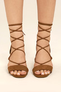 Afina Tan Suede Lace-Up Heels 2