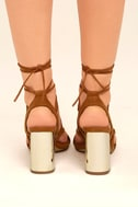Afina Tan Suede Lace-Up Heels 4