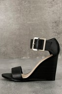 Neysa Black Ankle Strap Wedges 2