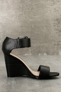 Neysa Black Ankle Strap Wedges 4