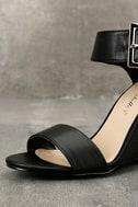 Neysa Black Ankle Strap Wedges 6