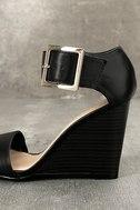 Neysa Black Ankle Strap Wedges 7