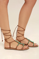 Madden Girl Kalipsoo Cognac Beaded Lace-Up Sandals 3