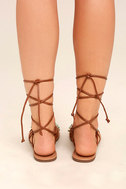 Madden Girl Kalipsoo Cognac Beaded Lace-Up Sandals 4