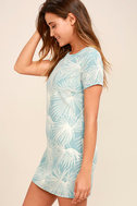 Cancun Calling Dusty Sage Print Shift Dress 3