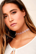 Daisy Darling Blush Pink Lace Choker Necklace 1
