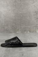 Coconuts Mateo Black Leather Slide Sandals 2