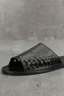 Coconuts Mateo Black Leather Slide Sandals 6