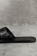 Coconuts Mateo Black Leather Slide Sandals 7