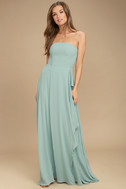 Sweetest Kiss Turquoise Strapless Maxi Dress 2