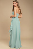 Sweetest Kiss Turquoise Strapless Maxi Dress 4