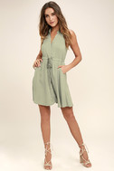 Others Follow Maddox Washed Olive Green Shirt Dress 2