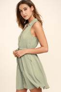 Others Follow Maddox Washed Olive Green Shirt Dress 3