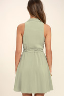 Others Follow Maddox Washed Olive Green Shirt Dress 4